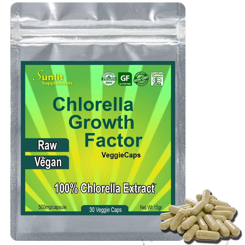 CHLORELLA EXTRACT Growth Factor 100x Concentrate - 100 LB of Chlorella = 1 LB of Chlorella Extract CGF Powder. Only Take One a Day! Raw Vegan Organic Non-GMO Chlorophyl Green Superfood in VegiCaps (1)