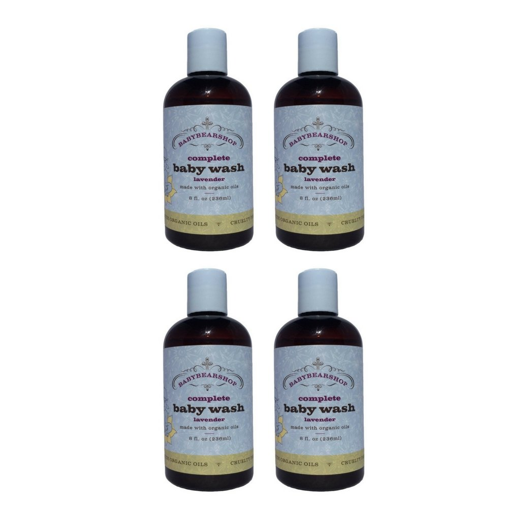 BabyBearShop Organic Complete Baby Wash, Lavender, 8 Ounce (4 Pack)