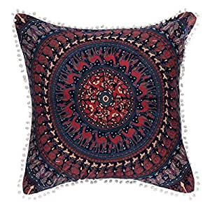 75 * 75 cms Euro chams, Blue and Red Mandala with Camels, Peacocks and Elephants Square Floor Pillows, Boho and Otoman Style Cushions