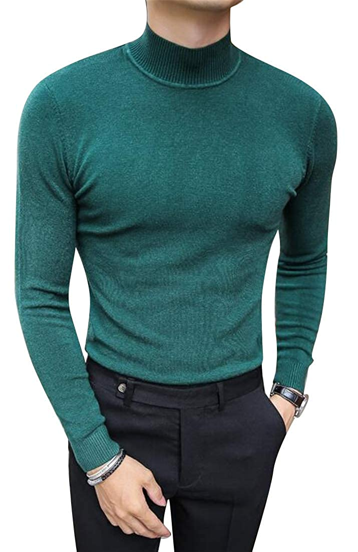 Mstyle Mens Stretchy Knitted Turtleneck Slim Fit Solid Color Casual Pullover Sweater Jumper