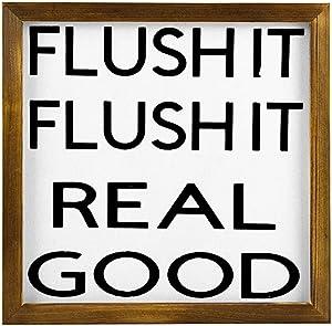 EricauBird Wood Sign, Flush It Real Good Sign, Bathroom Signs, Funny Bathroom Sign, Bathroom Wall Decor, Guest Bathroom Decor, Half Bath Sign Decorative Home Wall Art 12x12