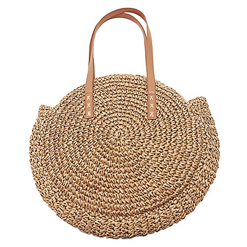 Camel Round Weaving Straw Bag Process Travel Outdoor Sling Bag Crossbody Shoulder Dual Retro Rattan bag with Strap Camel Bag Manual Beach for Purpose Shoulder Bag Coach Women Small SnddFx4qw