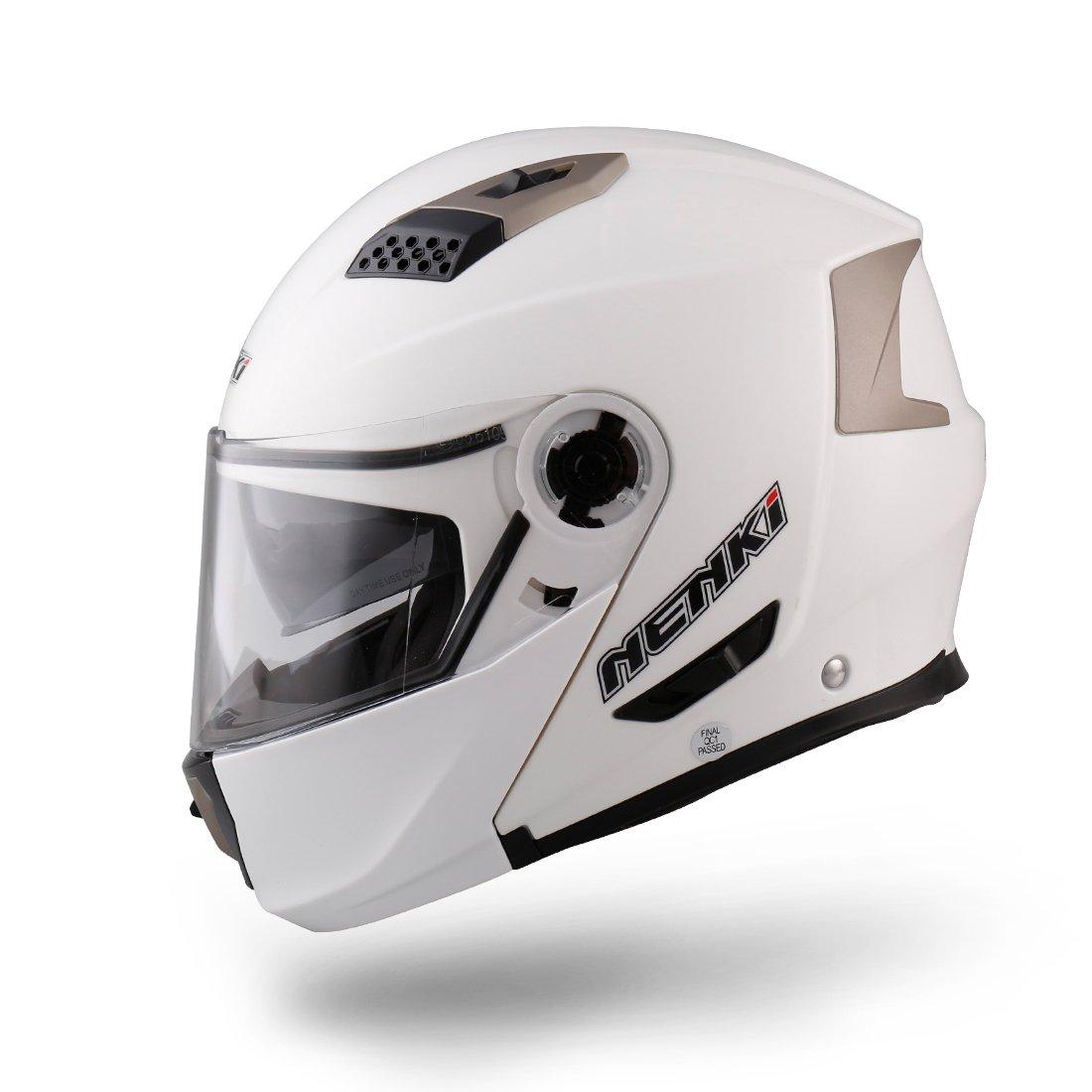 apribile NENKI NK-860 Casco per moto e scooter White, Small integrale modulare