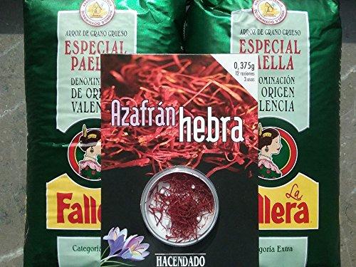 Lote de 2 kg arroz especial para paella La Fallera + 0,375gr. Azafrán Hacendado: Amazon.es: Alimentación y bebidas