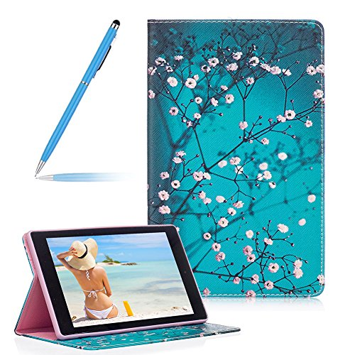 Generations Plum - Wallet Flip Leather Case For Amazon Fire HD 8 2016 Release(Previous Generation - 6th), Girlyard Painted Plum Flower Tree Branch Ultra Slim Standing Protective Case Cover with Card Slots and Kickstand