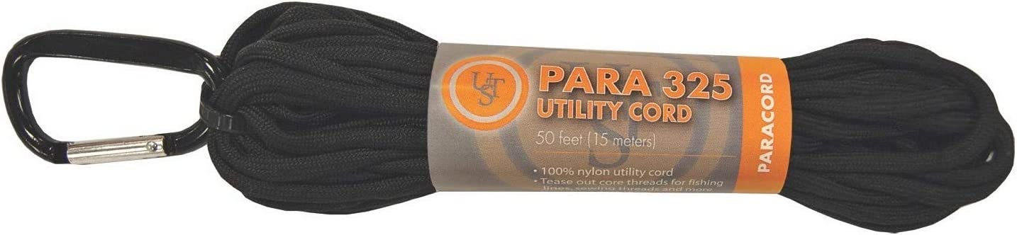 Ultimate Survival Technologies Paracord 325 50-ft Hank Black Nylon Utility Cord