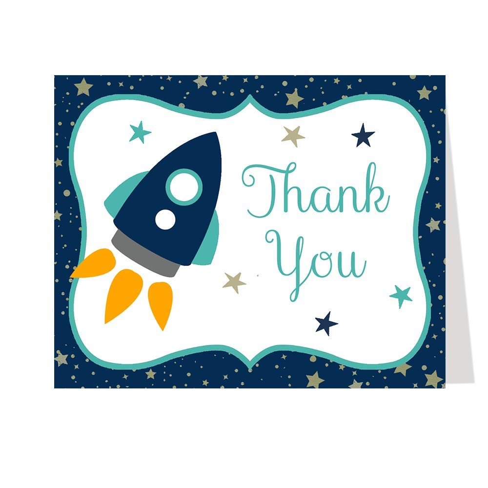 Rocket Ship Thank You Cards Baby Shower Outer Space Sprinkle Folding Thank You Notes Ship Stars Moon Spaceship Stripes Aqua Blue Boys It's A Boy (50 count) by The Invite Lady