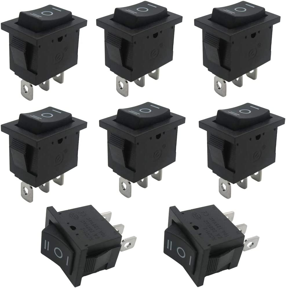 Use for Car Auto Boat Household Appliances 1 Years Warranty MXU1-2-101NR mxuteuk 8pcs Red Light Illuminated Snap-in Boat Rocker Switch Toggle Power SPST ON-Off 3 Pin AC 250V 6A 125V 10A