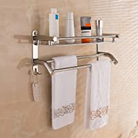 HONPHIER Handdoekenrek Multifunctionele Handdoekenrek met Opbergplank SUS304 RVS Handdoekhouder Wandmontage Badhanddoek…