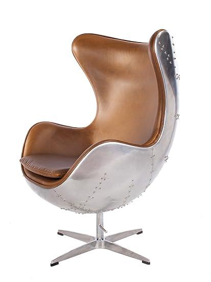 Charmant Hand Hammered Aviator Aluminum Mid Century Modern Classic Arne Jacobsen  Style Egg Replica Lounge Chair