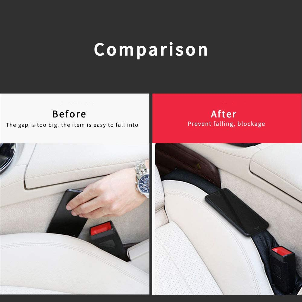 8X-SPEED For Ranger Car Seat Gap Filler Pad Prevent items from falling Gap Filler Pad Spacer Leakproof Protective Pad PU Leather Car Seat Slot Plug Pad 2Pcs Red