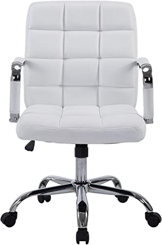 Poly and Bark Manchester Office Chair in Vegan Leather, White