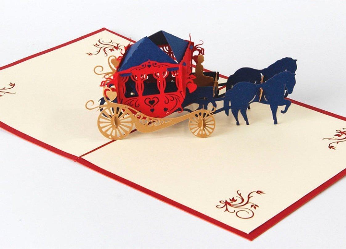 carroza con caballos negros de cartón o papercraft
