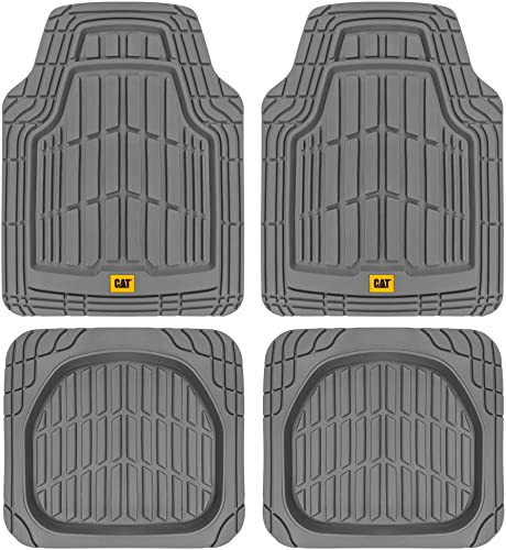 CAT Heavy Duty Odorless Rubber Floor Mats, Total Protection Durable Trim to Fit Liners for Car Truck SUV Van, All Weather