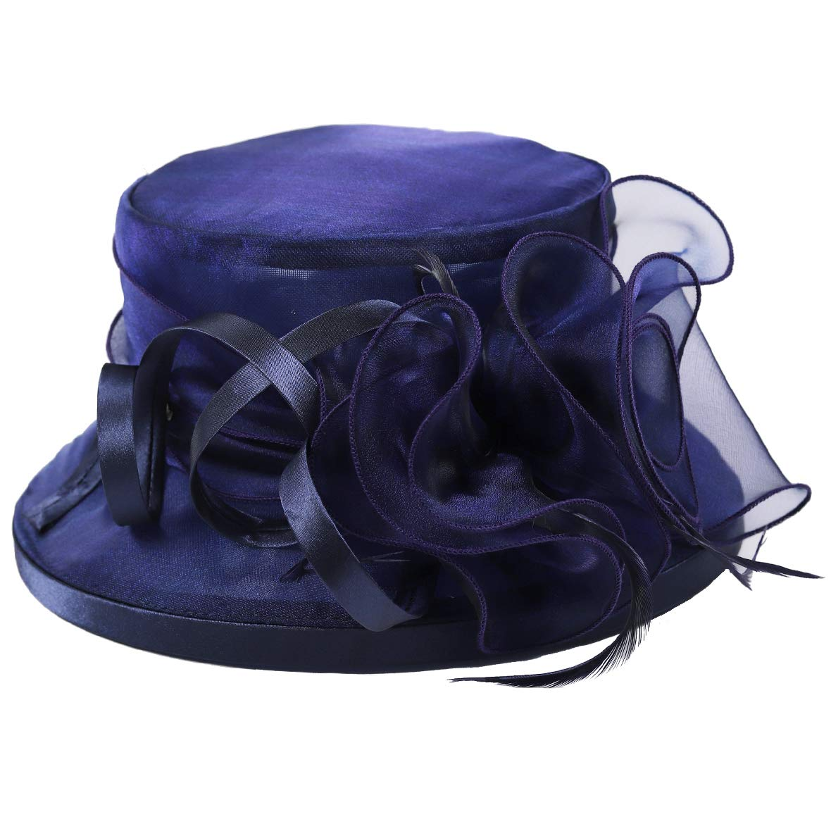 Lady Church Derby Dress Cloche Hat Fascinator Floral Tea Party Wedding Bucket Hat S051 (S043-Navy) by Ruphedy (Image #4)
