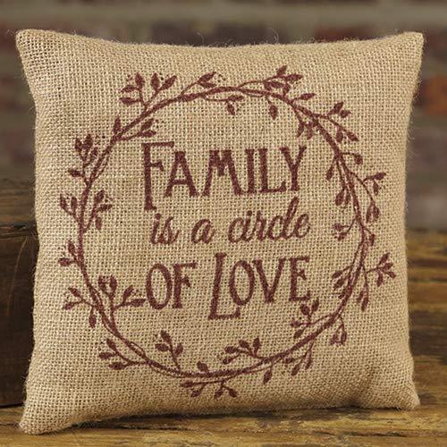 (Family Circle of Love 8 x 8 Burlap Decorative Throw Pillow)