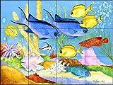 Ceramic Tile Mural - Creole Fish - by Linda Lord - Kitchen backsplash / Bathroom shower