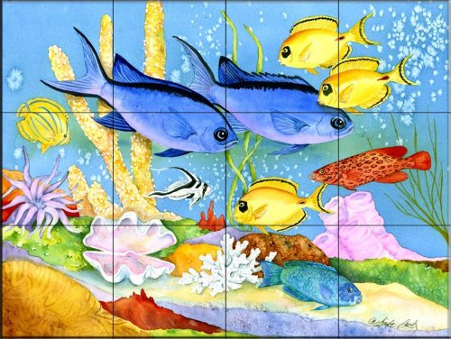 Ceramic Tile Mural - Creole Fish - by Linda Lord - Kitchen backsplash/Bathroom Shower