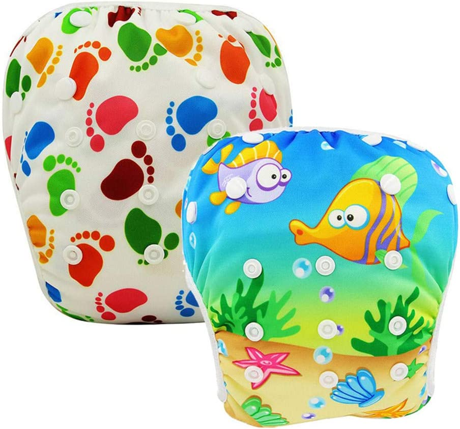 Pool Pant Swimming Diaper Cover 2PCS Baby Swim Diaper Reusable Washable Baby Nappies Waterproof Adjustable Cloth Nappy