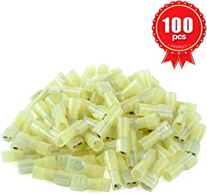 XHF 12-10 AWG Female Spade Disconnect Connectors Terminals Nylon Fully Insulated Quick Crimp Wire Connectors 100 Pcs Yellow