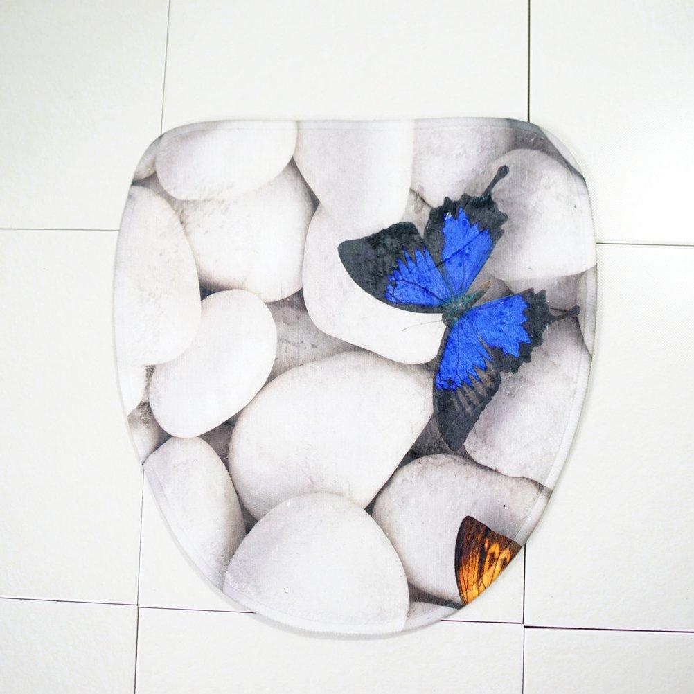 Schmetterling OUNONA Badematte Set Rutschfester Fu/ßmatte Toilette Teppich waschbarer T/ürmatte 3pcs