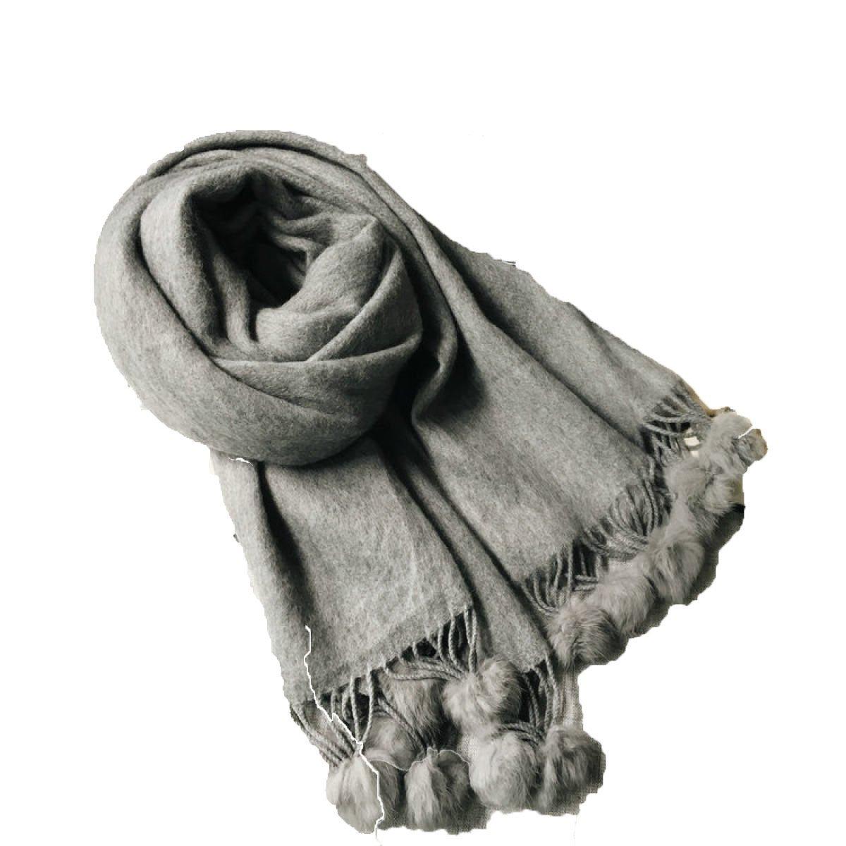 DIDIDD Borlas de bufanda de color sólido que espesa el mantón caliente lindo,Gris,200 * 70cm