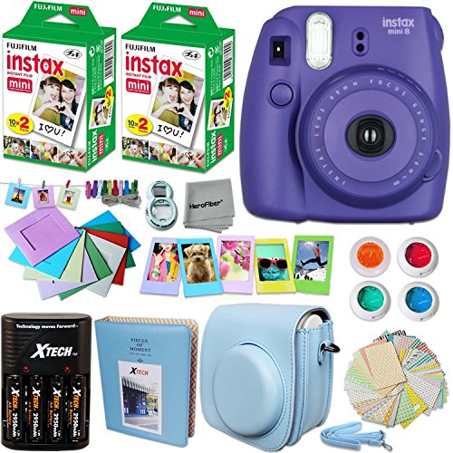 FujiFilm Instax Mini 8 Camera PURPLE + Accessories KIT for Fujifilm Instax Mini 8 Camera includes: 40 Instax Film + Custom Case + 4 AA Rechargeable Batteries + Assorted Frames + Photo Album + MORE by HeroFiber