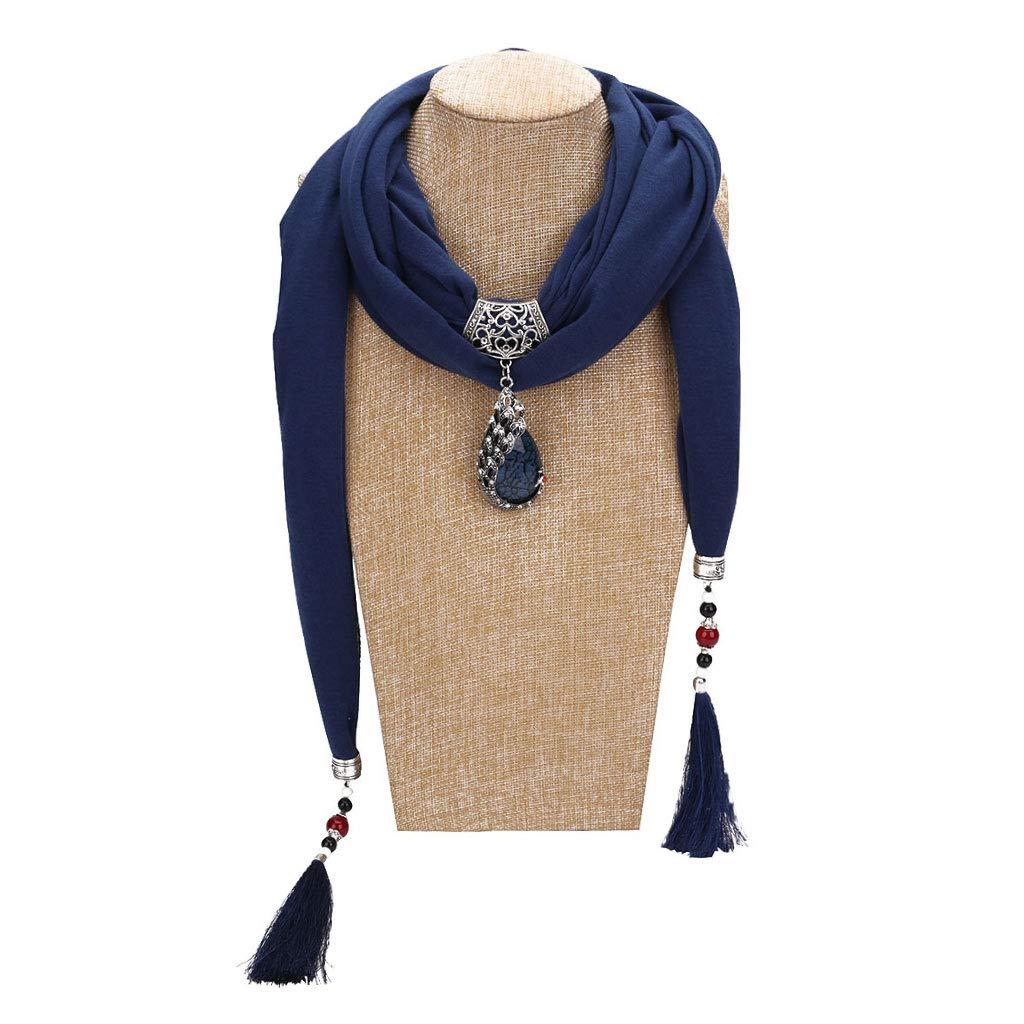 Taglia Unica Flyhigh Sciarpa 200/x 40/cm Blue Poliestere Scialle Vintage di Colore Solido Pendente a Goccia Pavone Perline Stile Etnico Gioielli di Strass Collana Lunga con Nappe
