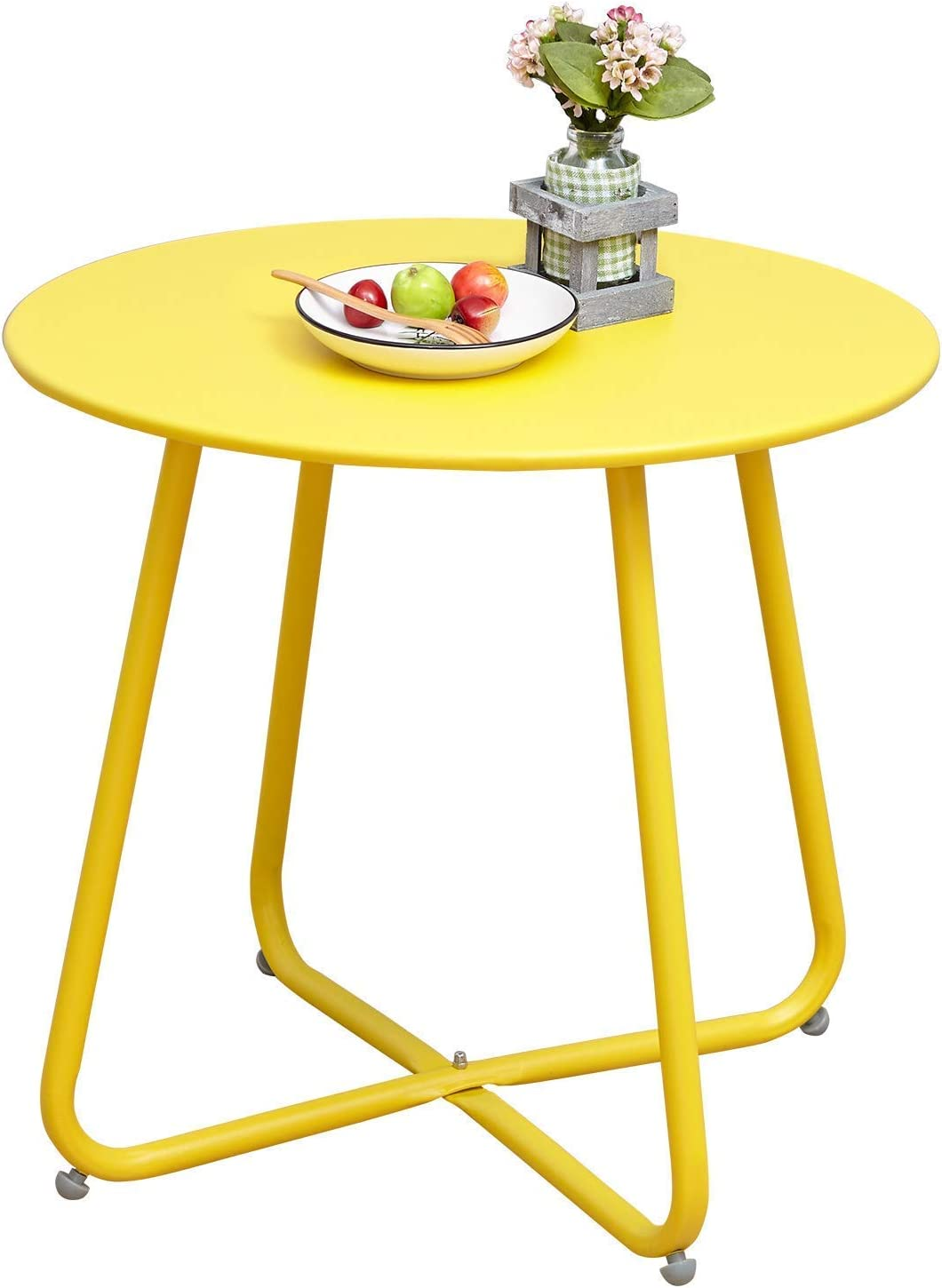 Grand patio Round Metal Side/End Table, Steel Patio Coffee Table for Bistro, Porch, Weather Resistant Outside Table Small (Yellow)