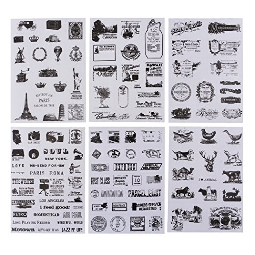 - Loweryeah 6 Sheets Vintage European Style decoration Stamp Adhesive Paper Stickers Diary Scrapbooking Home Decoration