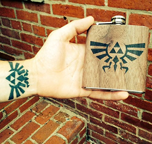 Personalized Zelda real wood wrapped flask (Home Natural Legend)