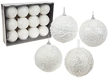 Weihnachtskugeln Weiß.Amazon De 12 Weihnachtskugeln Weiß Im Häkelstil Glitzer Kugeln