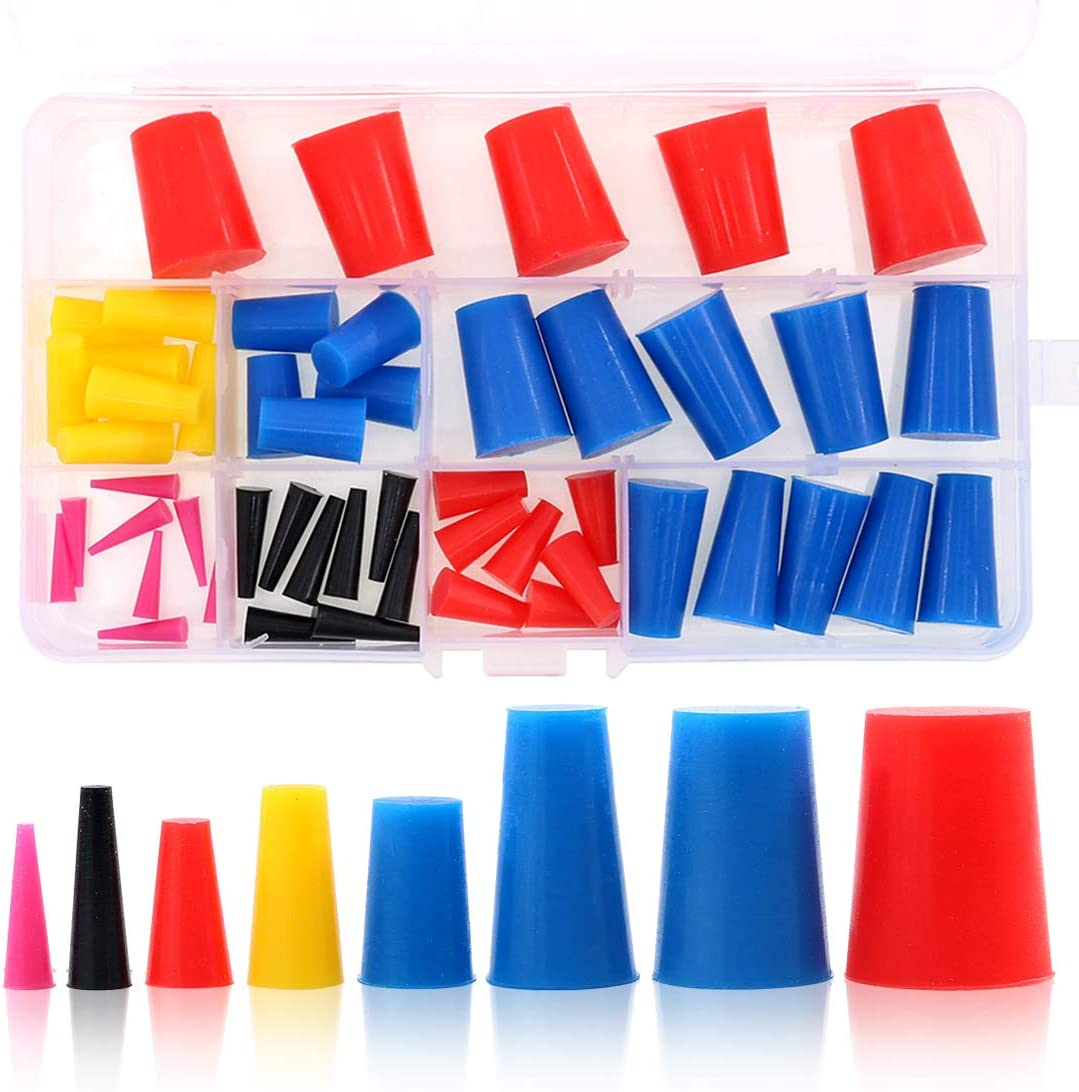 Swpeet 50Pcs High Temp Silicone Rubber Protective Tapered Plug Assortment Kit, Masking System Kit Perfect for Powder Coating, Painting, Anodizing, Plating & Media Blasting