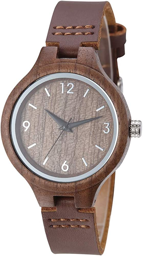 Women Wood Watch Elegant Quartz Movement Fashion Handmade Wooden Wrist Watches Girl