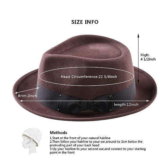 4c4dca7bafe8e9 Men's Fedora Hat, 100% Pure Wool Felt Hats Pork Pie Crushable Short Brim  Gangster Trilby Flat Cap(Brown) at Amazon Men's Clothing store: