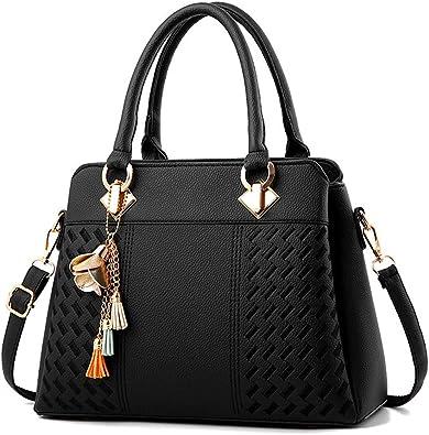 Amazon.com: Womens Purses and Handbags Ladies Designer PU Leather Top Handle Satchel Tote Bag Shoulder Bags: Shoes