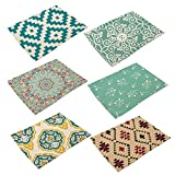 Monoshop 6 In Set Cotton Linen Placemats - Geometric Pattern Table Mats Heat-resistant Non-slip Insulation Table Runner for Kitchen Dining Room Table Decoration