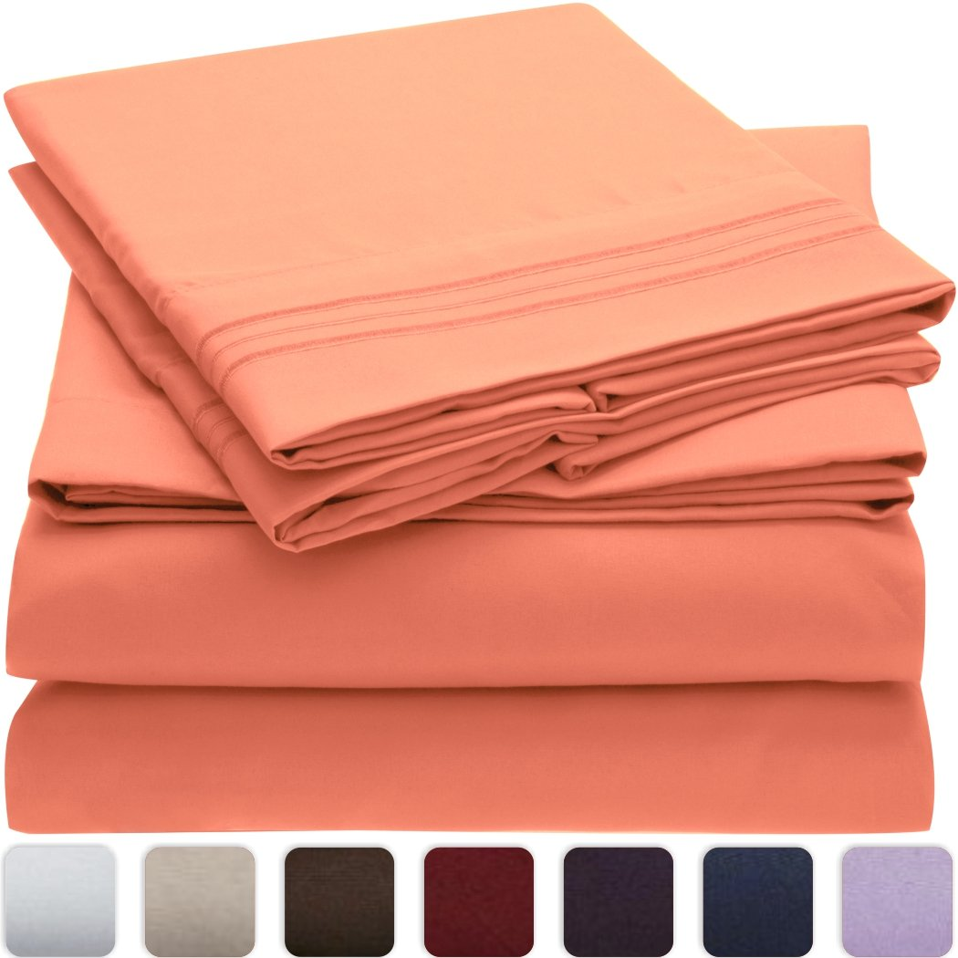 Mellanni Bed Sheet Set - HIGHEST QUALITY Brushed Microfiber 1800 Bedding 4 Piece Queen, Coral