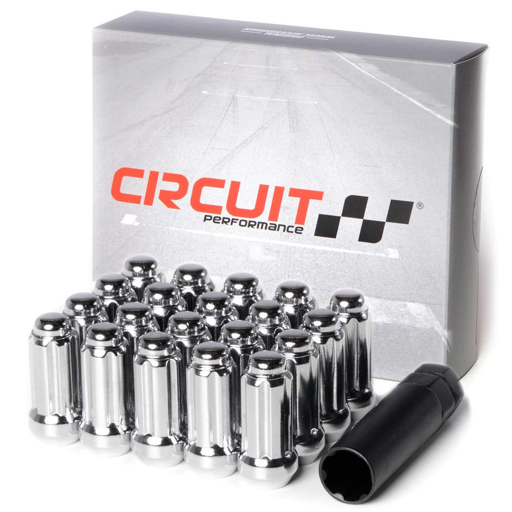 Circuit Performance 14x1.5 Chrome Closed End 6 Spline Security Acorn Lug Nuts Cone Seat Forged Steel 24 Pieces + Tool