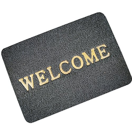 "Changyun Welcome Mat for Front Door - 23.6 ""(L) x 15.7"" (W) Large Dark Grey, Outdoor and Indoor Use Doormat by S&G Home Door Mats"