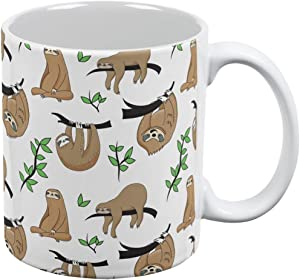 Old Glory Sloth Pattern Nature Leaves Cute All Over Coffee Mug White Standard One Size