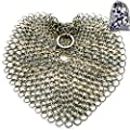 Cast Iron Cleaner Stainless Steel Scrubber, 7 Inch 316 L Premium Anti-Rust Stainless Steel Chainmail Scrubber