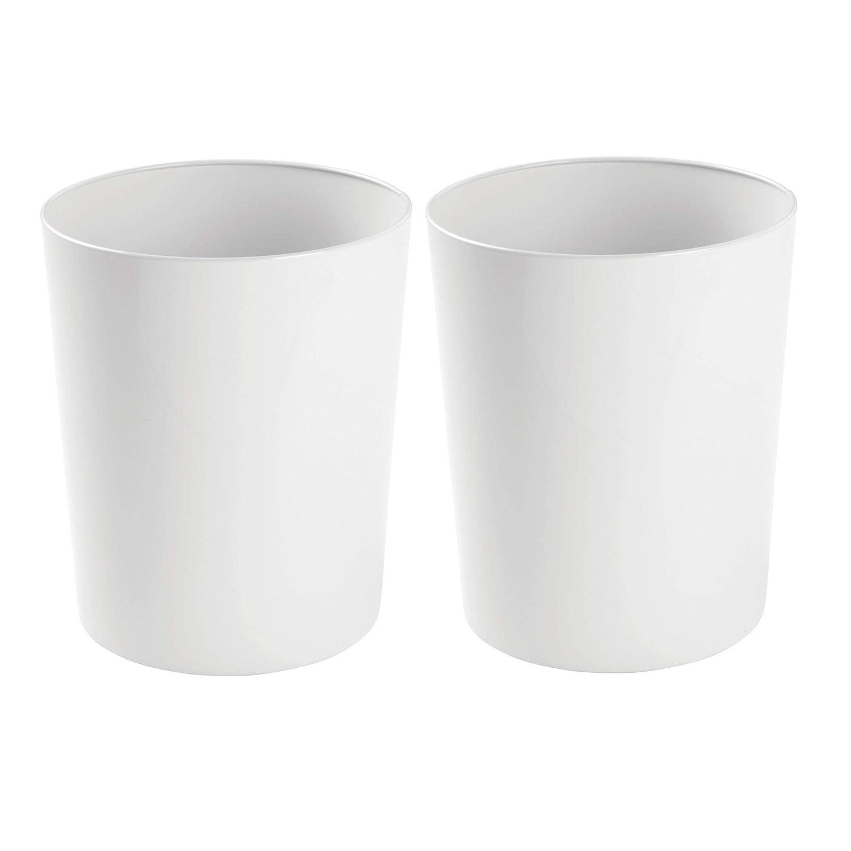 mDesign – Papelera metálica (juego de 2) – Cubo de basura moderno para el baño, la oficina o la cocina – Preciosa papelera de diseño de color blanco – Fabricada en acero MetroDecor 5377MDBST