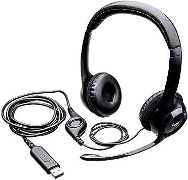 Logitech H390 Auriculares con Cable, Sonido Estéreo y Micrófono USB con Supresión de Ruido, Controles Integrados en el Cable, PC/Mac/Portátil ,Negro