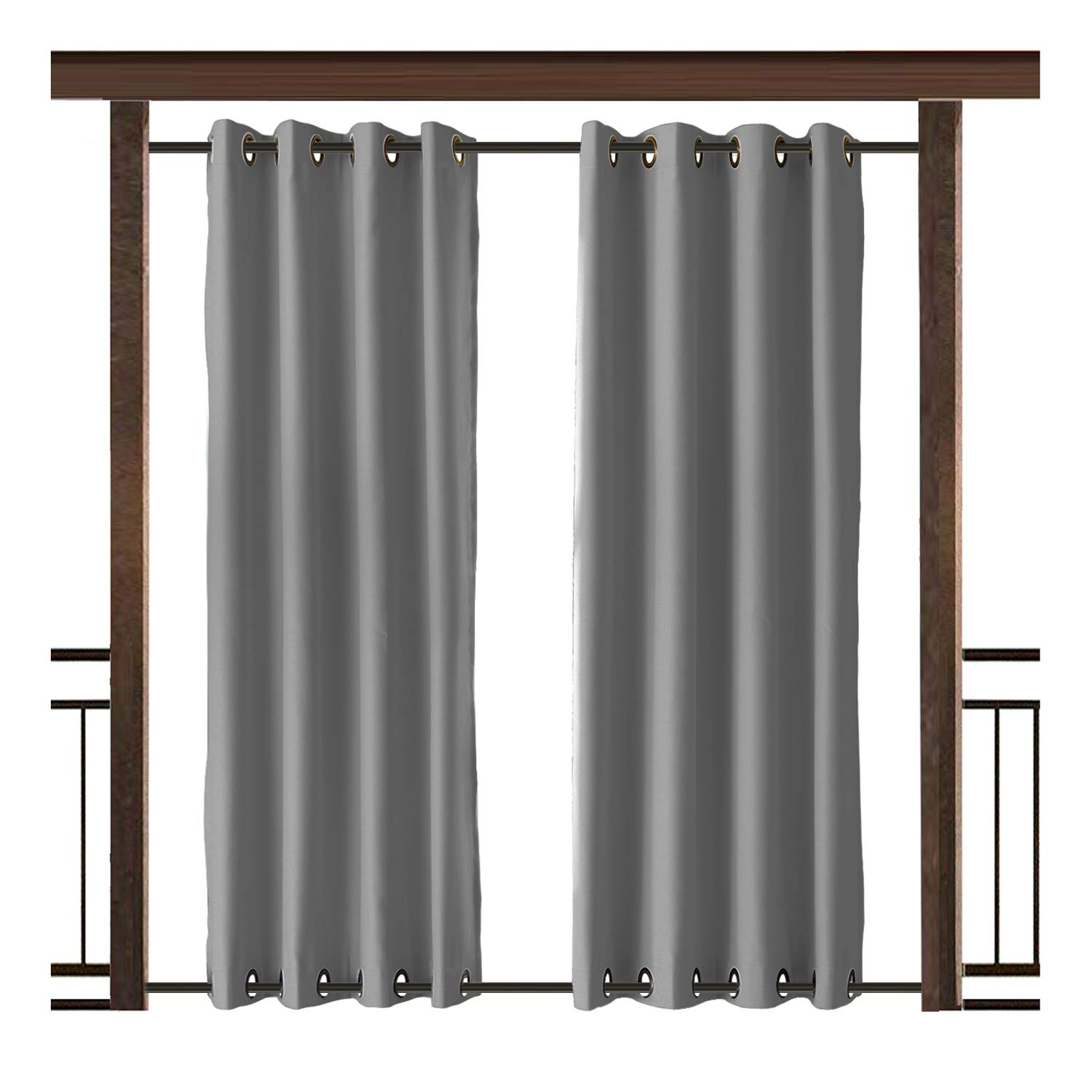 TWOPAGES Outdoor Curtain Antique Bronze Grommet Waterproof Drape(Both Top and Bottom) Grey 52'' W x 84'' L For Front Porch, Pergola, Cabana, Covered Patio, Gazebo, Dock, and Beach Home (1 Panel).