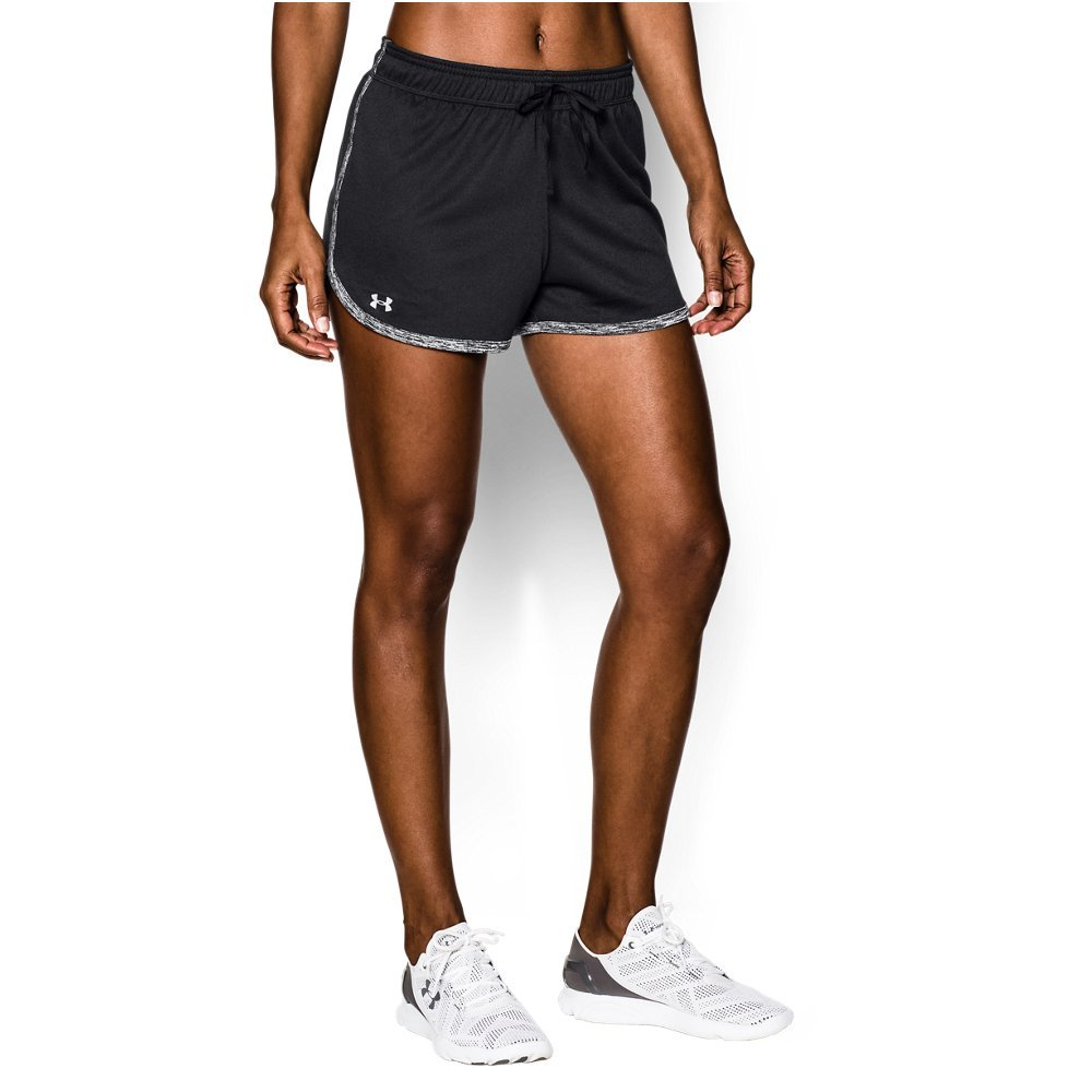 Under Armour Women's Tech Shorts, Black (001)/Metallic Silver, Medium