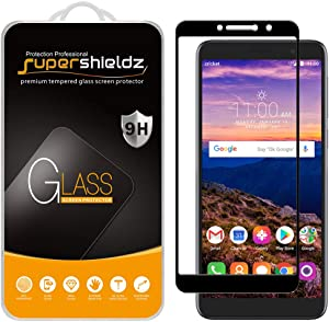 (2 Pack) Supershieldz for Alcatel Onyx, Alcatel TCL A1X (A503DL) and Alcatel 1X (2019) Tempered Glass Screen Protector, (Full Screen Coverage) Anti Scratch, Bubble Free (Black)