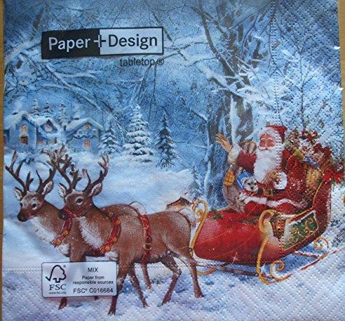 Pack of 4 Christmas Napkins - Santa On Tour - 33 x 33cm - Great for Decoupage / Napkin Art CraftyThings