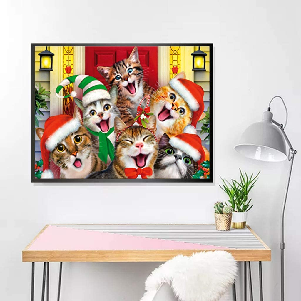 5D DIY Diamond Painting Full Round Drill Kits Picture Art Craft for Home Wall Decor 30x40cm Cute Cats with Christmas Hat