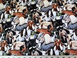 Farm Goats All Sizes All Colors Cotton Fabric by The Yard